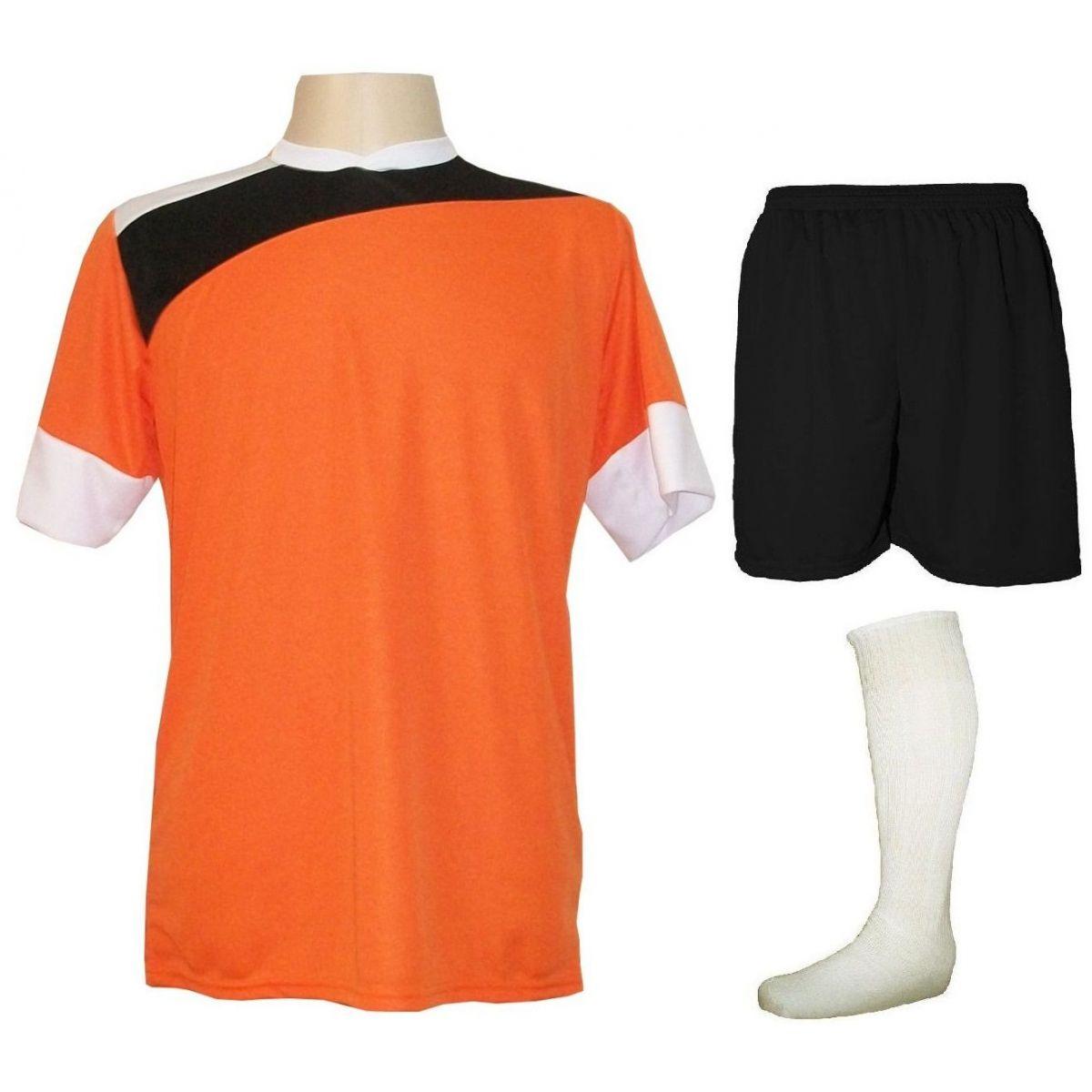 Uniforme Esportivo Completo modelo Sporting 14+1 (14 camisas Laranja/Preto/Branco + 14 calções Madrid Preto + 14 pares de meiões Brancos + 1 conjunto de goleiro) + Brindes