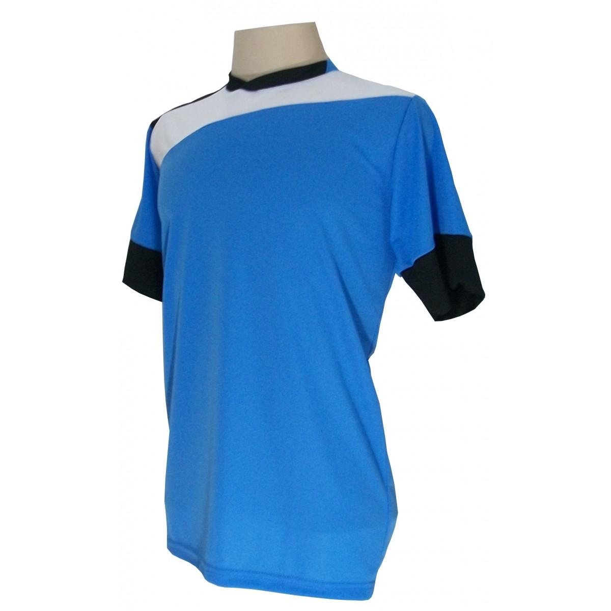 Uniforme Esportivo Completo modelo Sporting 14+1 (14 camisas Celeste/Branco/Preto + 14 calções Madrid Preto + 14 pares de meiões Brancos + 1 conjunto de goleiro) + Brindes