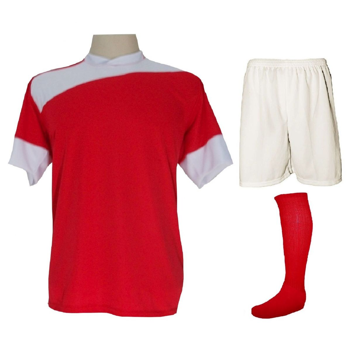 Uniforme Esportivo Completo modelo Sporting 14+1 (14 camisas Vermelho/Branco + 14 calções Madrid Branco + 14 pares de meiões Vermelho + 1 conjunto de goleiro) + Brindes