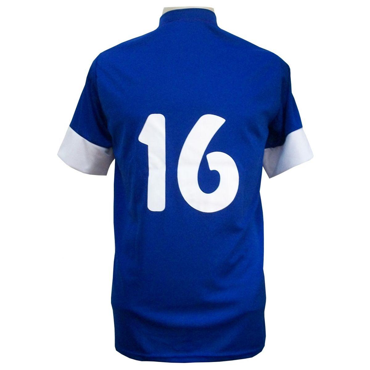 Uniforme Esportivo Completo modelo Sporting 14+1 (14 camisas Royal/Vermelho/Branco + 14 calções Madrid Royal + 14 pares de meiões Vermelho + 1 conjunto de goleiro) + Brindes