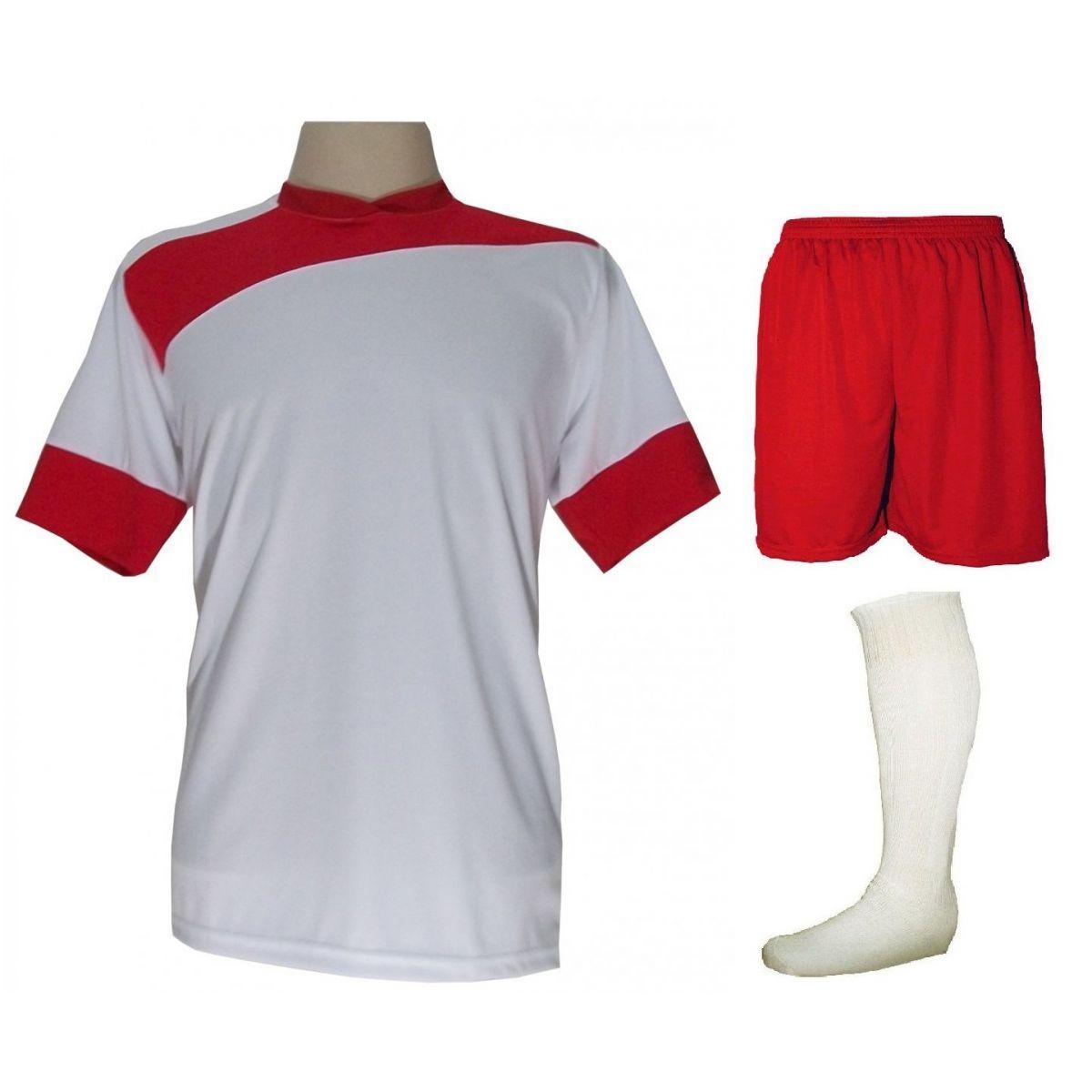 Uniforme Esportivo Completo modelo Sporting 14+1 (14 camisas Branco/Vermelho + 14 calções Madrid Vermelho + 14 pares de meiões Brancos + 1 conjunto de goleiro) + Brindes