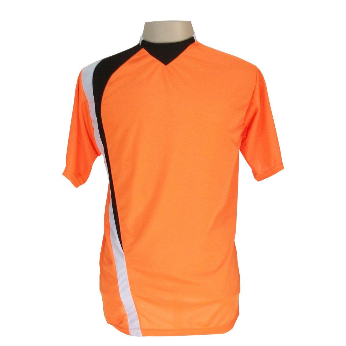 Uniforme Esportivo Completo modelo PSG 14+1 (14 camisas Laranja/Preto/Branco + 14 calções Madrid Preto + 14 pares de meiões Pretos + 1 conjunto de goleiro) + Brindes