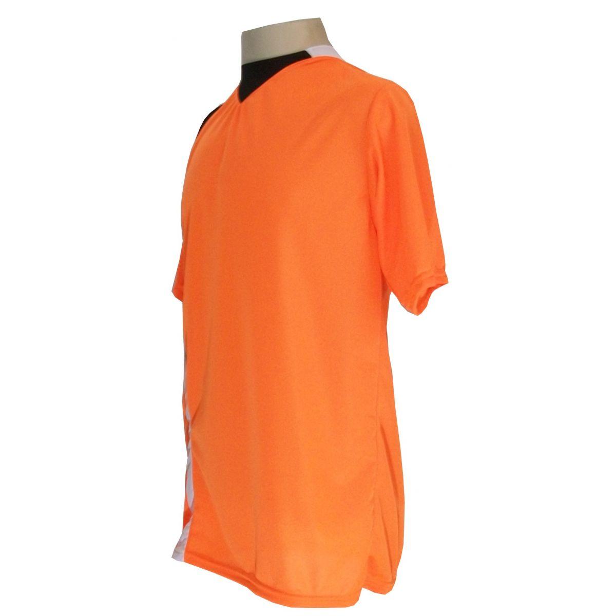 Uniforme Esportivo com 14 camisas modelo PSG Laranja/Preto/Branco + 14 calções modelo Madrid Branco + Brindes