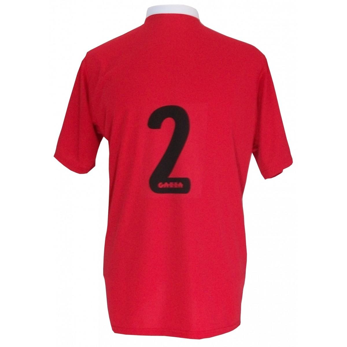 Uniforme Esportivo Completo modelo PSG 14+1 (14 camisas Vermelho/Preto/Branco + 14 calções Madrid Branco + 14 pares de meiões Preto + 1 conjunto de goleiro) + Brindes