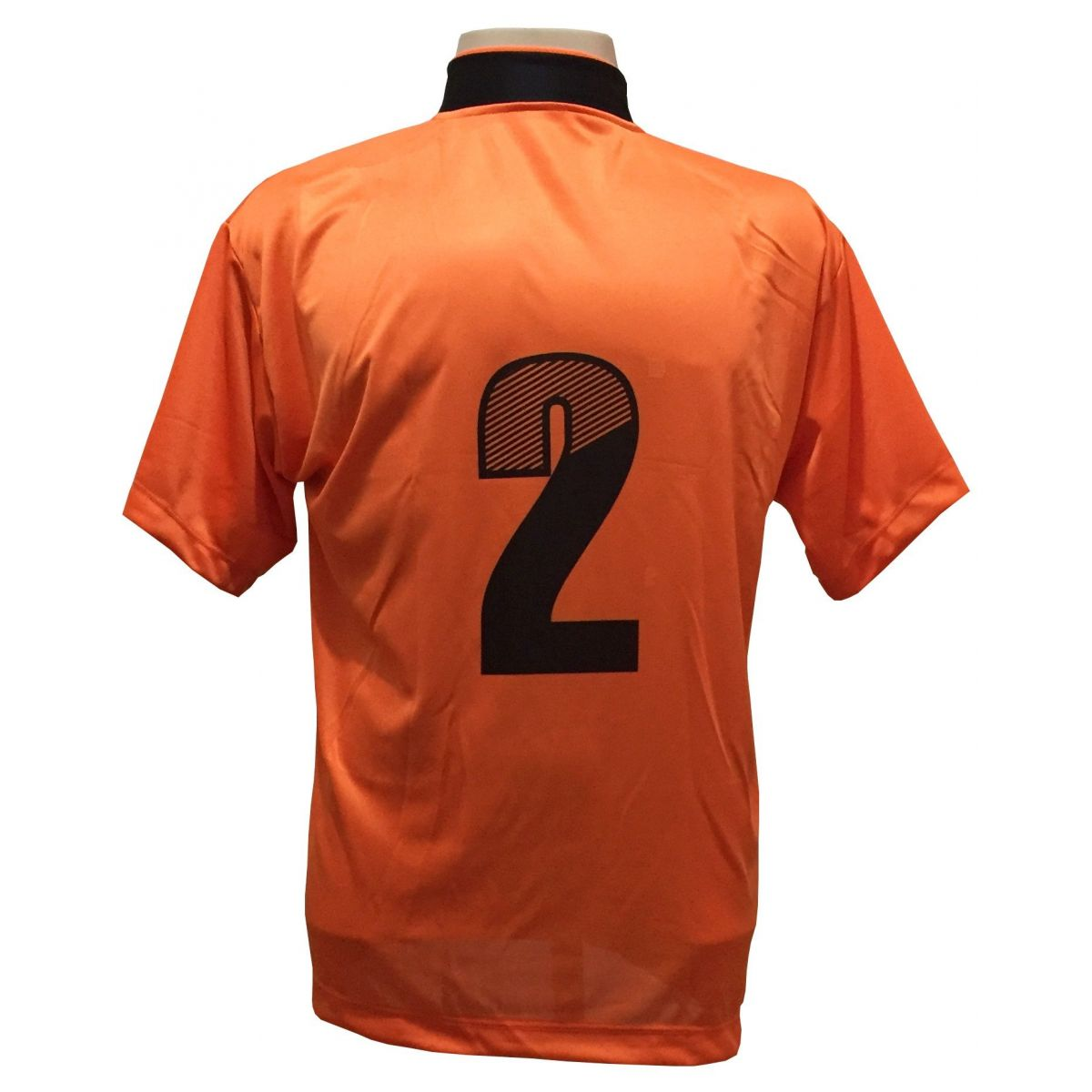 4195fcb783 ... Uniforme Esportivo com 14 camisas modelo Suécia Laranja Preto + 14  calções modelo Madrid Preto ...