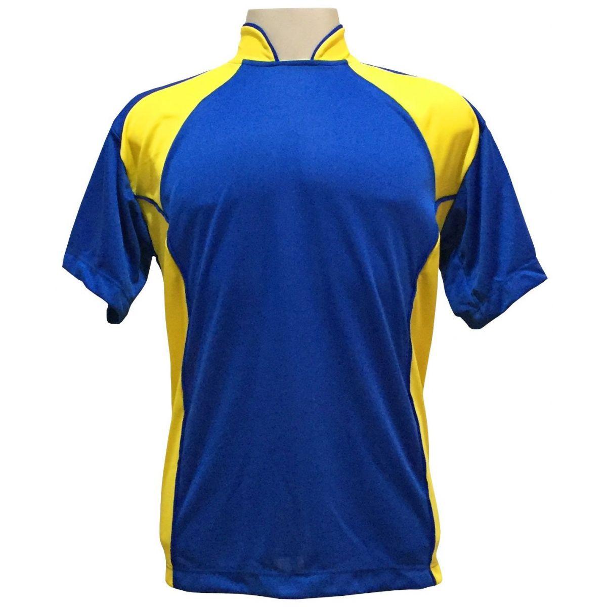 Uniforme Esportivo Completo modelo Suécia 14+1 (14 camisas Royal/Amarelo + 14 calções Madrid Royal + 14 pares de meiões Royal + 1 conjunto de goleiro) + Brindes