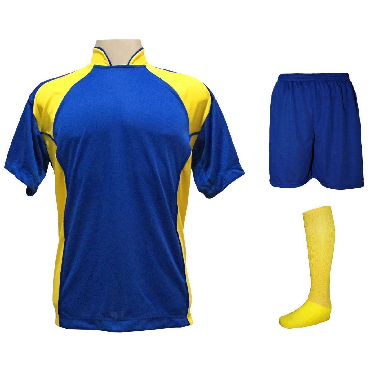 Uniforme Esportivo Completo modelo Suécia 14+1 (14 camisas Royal/Amarelo + 14 calções Madrid Royal + 14 pares de meiões Amarelos + 1 conjunto de goleiro) + Brindes