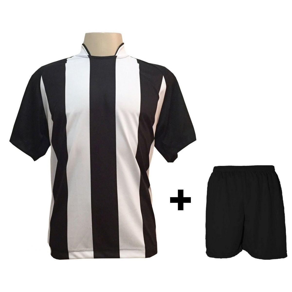 Uniforme Esportivo com 12 camisas modelo Milan Preto/Branco + 12 calções modelo Madrid Preto + Brindes