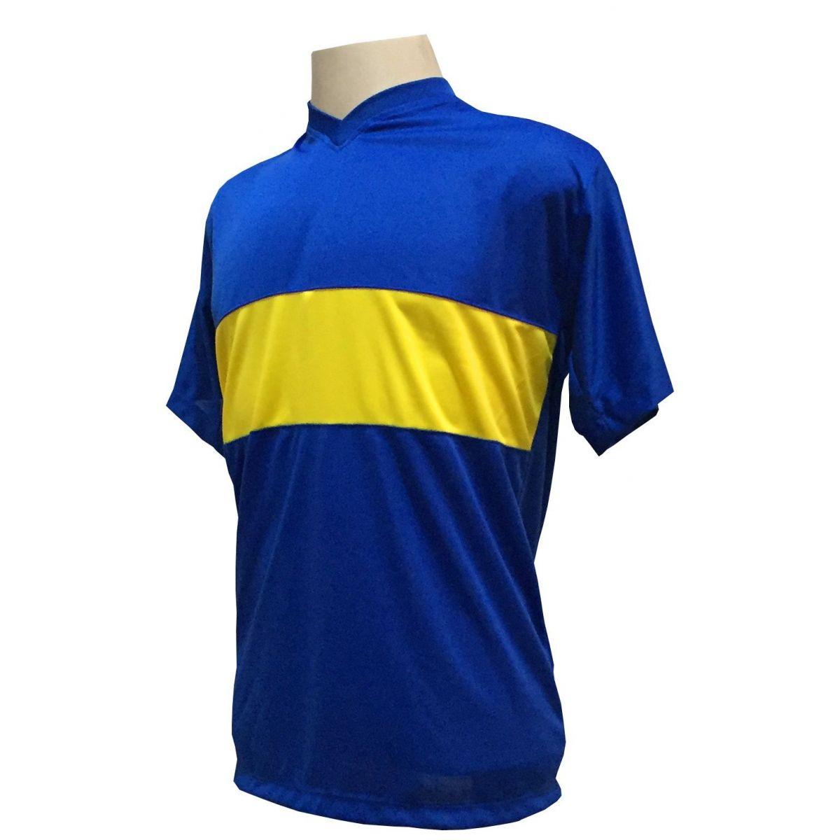 Uniforme Esportivo com 14 camisas modelo Boca Juniors Royal/Amarelo + 14 calções modelo Madrid Royal + Brindes