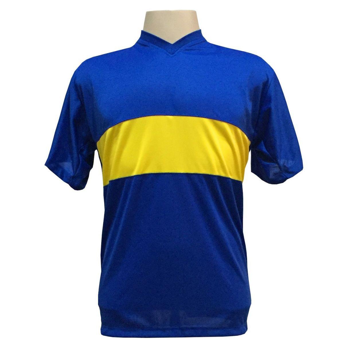 Uniforme Esportivo Completo modelo Boca Juniors 14+1 (14 camisas Royal/Amarelo + 14 calções Madrid Royal + 14 pares de meiões Royal + 1 conjunto de goleiro) + Brindes
