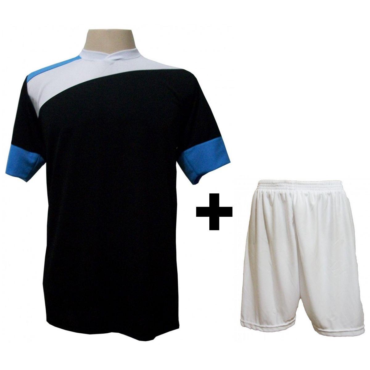 Uniforme Esportivo com 14 camisas modelo Sporting Preto/Branco/Celeste + 14 calções modelo Madrid Branco + Brindes