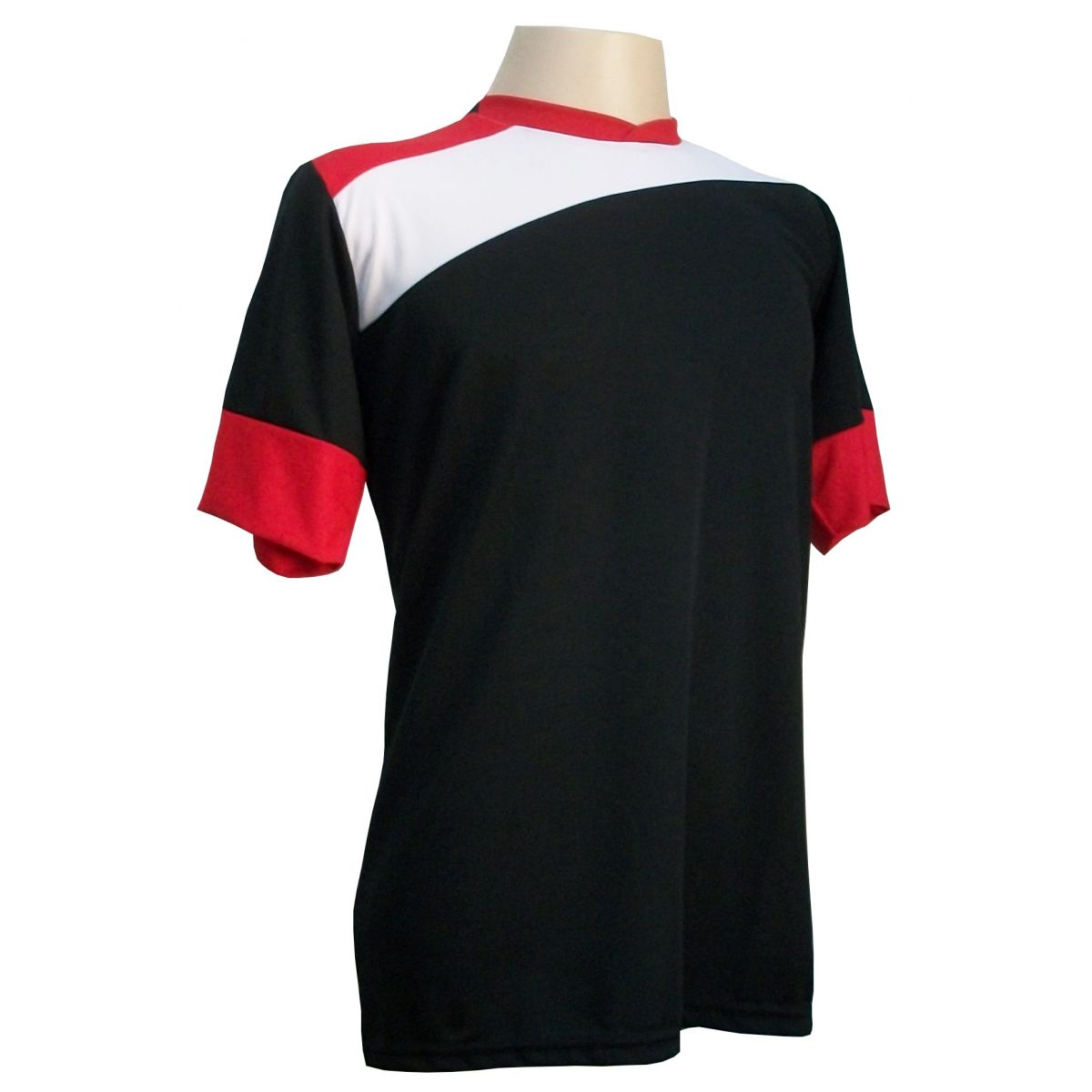 Uniforme Esportivo com 14 camisas modelo Sporting Preto/Branco/Vermelho + 14 calções modelo Madrid Preto + Brindes