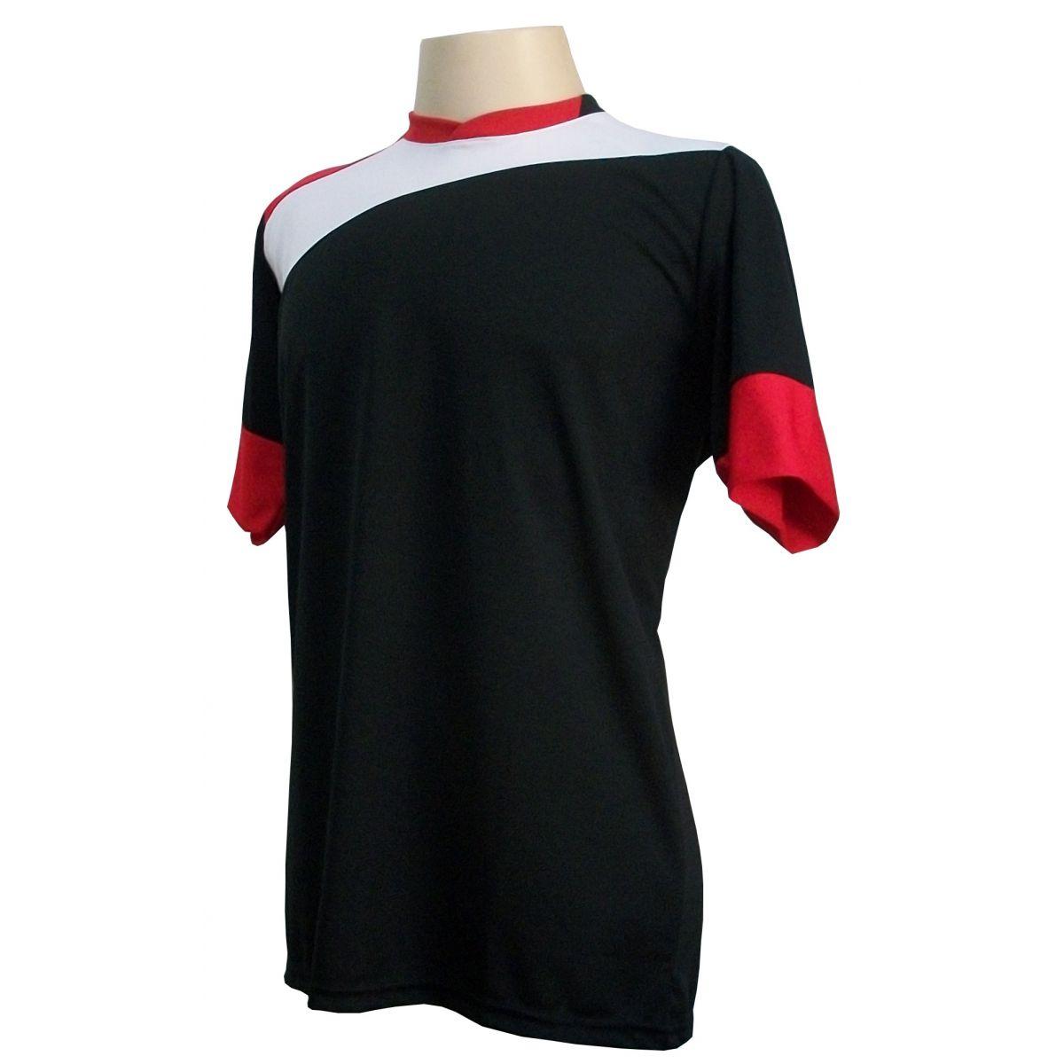 Uniforme Esportivo com 14 camisas modelo Sporting Preto/Branco/Vermelho + 14 calções modelo Madrid Vermelho + Brindes