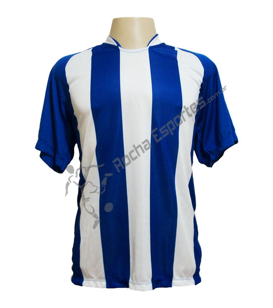 Jogo de Camisa modelo Milan com 18 Azul Royal/Branco - Frete Gr�tis Brasil + Brindes