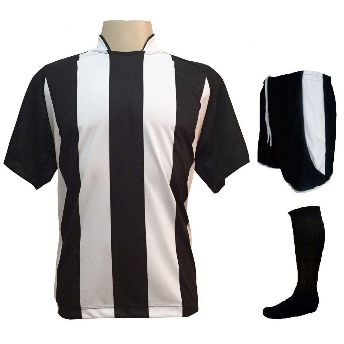Fardamento Completo modelo Milan 12+1 (12 Camisas Preto/Branco + 12 Calções Preto/Branco + 12 Pares de Meiões Pretos + 1 Conjunto de Goleiro) + Brindes