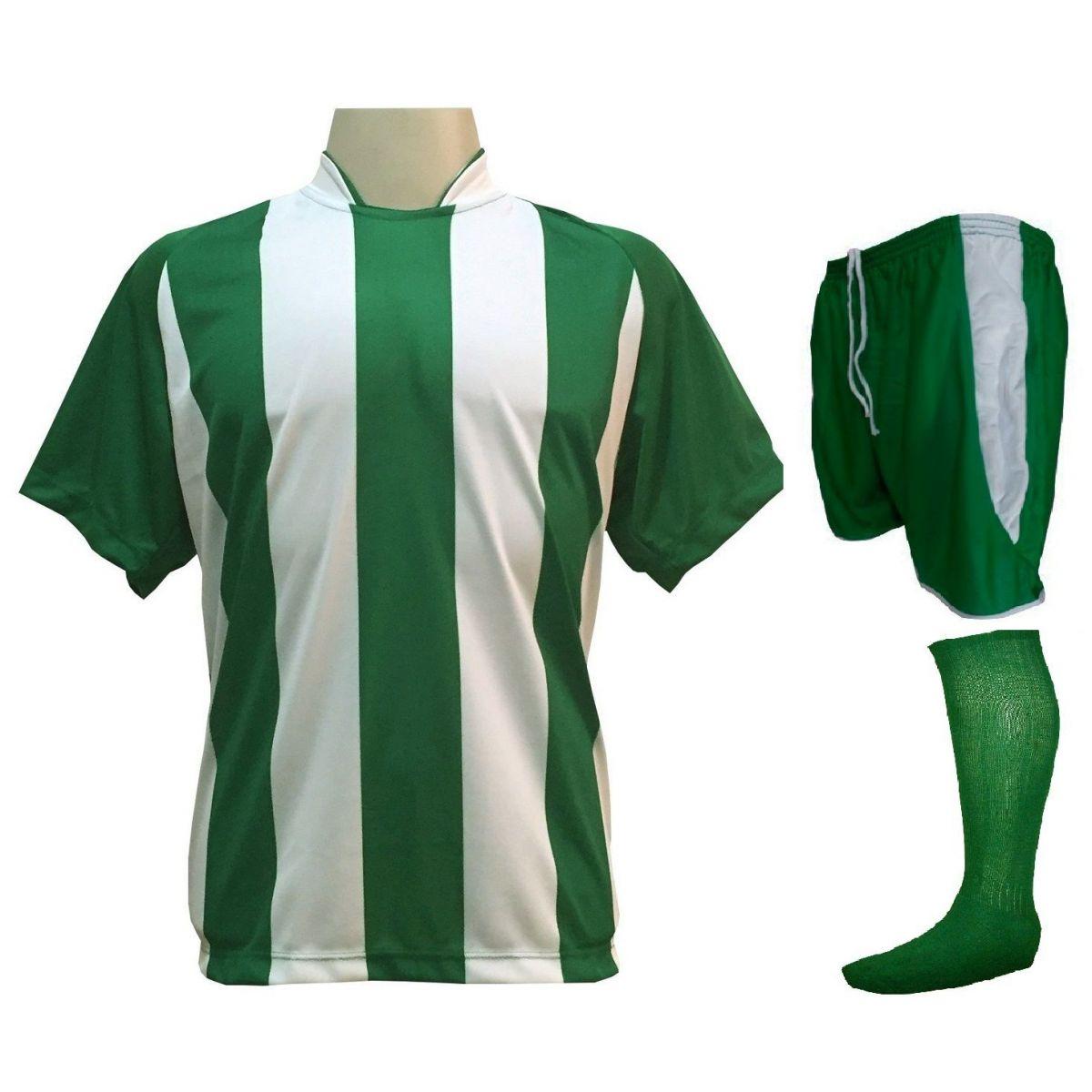 Fardamento Completo Modelo Milan 12+1 (12 Camisas Verde/Branco + 12 Calções Verde/Branco + 12 Pares de Meiões Verdes + 1 Conjunto de Goleiro) + Brindes