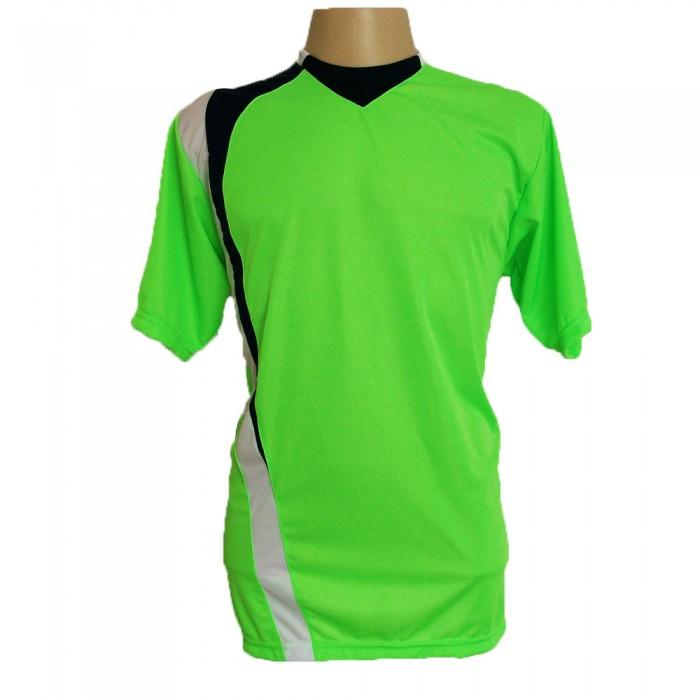 Uniforme Esportivo com 14 camisas modelo PSG Limão/Preto/Branco + 14 calções modelo Madrid Branco + Brindes