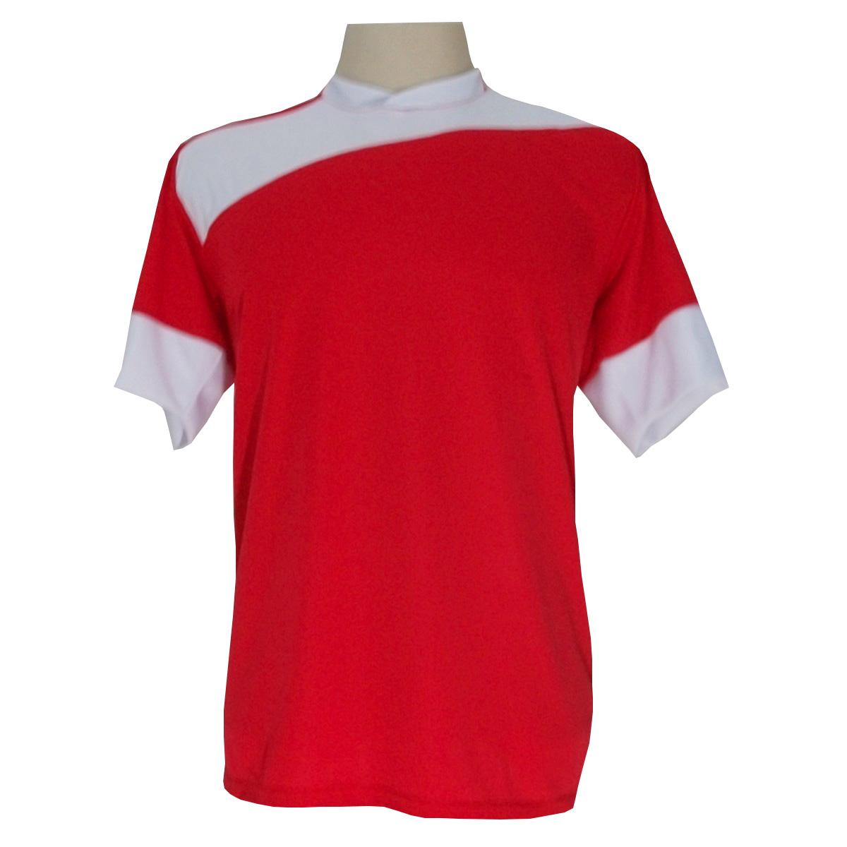 Jogo de Camisa com 14 unidades modelo Sporting Vermelho/Branco + 1 Goleiro + Brindes