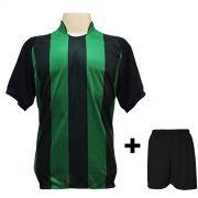 Uniforme Esportivo com 18 camisas modelo Milan Preto/Verde + 18 calções modelo Madrid Preto + Brindes