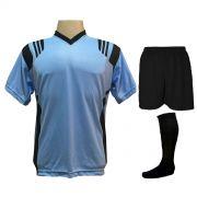 Fardamento Completo modelo Roma Celeste/Preto 12+1 (12 camisas + 12 calções + 13 pares de meiões + 1 conjunto de goleiro) - Frete Grátis Brasil + Brindes