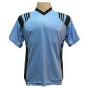 Jogo de Camisa com 18 unidades modelo Roma Celeste/Preto + 1 Goleiro + Brindes