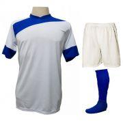 Uniforme Esportivo Completo modelo Sporting 14+1 (14 camisas Branco/Royal + 14 calções Madrid Branco + 14 pares de meiões Royal + 1 conjunto de goleiro) + Brindes