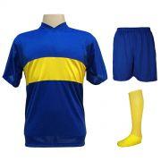 Uniforme Esportivo Completo modelo Boca Juniors 14+1 (14 camisas Royal/Amarelo + 14 calções Madrid Royal + 14 pares de meiões Amarelos + 1 conjunto de goleiro) + Brindes