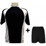 Uniforme Esportivo com 14 camisas modelo Suécia Preto/Branco + 14 calções modelo Madrid Preto + Brindes