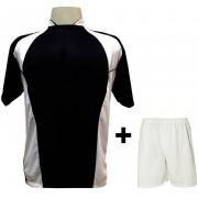 Uniforme Esportivo com 14 camisas modelo Suécia Preto/Branco + 14 calções modelo Madrid Branco + Brindes
