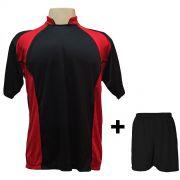 Uniforme Esportivo com 14 camisas modelo Suécia Preto/Vermelho + 14 calções modelo Madrid Preto + Brindes
