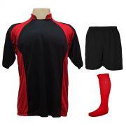 Uniforme Esportivo Completo modelo Suécia 14+1 (14 camisas Preto/Vermelho + 14 calções Madrid Preto + 14 pares de meiões Vermelhos + 1 conjunto de goleiro) + Brindes