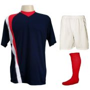Uniforme Esportivo Completo modelo PSG 14+1 (14 camisas Marinho/Vermelho/Branco + 14 calções Madrid Branco + 14 pares de meiões Vermelhos + 1 conjunto de goleiro) + Brindes