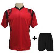 Uniforme Esportivo com 18 camisas modelo Roma Vermelho/Preto + 18 calções modelo Madrid + 1 Goleiro + Brindes