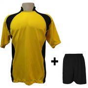 Uniforme Esportivo com 14 camisas modelo Suécia Amarelo/Preto + 14 calções modelo Madrid + 1 Goleiro + Brindes