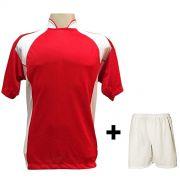 Uniforme Esportivo com 14 camisas modelo Suécia Vermelho/Branco + 14 calções modelo Madrid Branco + Brindes