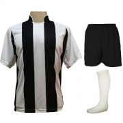 Fardamento Completo modelo Milan 18+2 (18 Camisas Branco/Preto + 18 Calções Madrid Preto + 18 Pares de Meiões Brancos + 2 Conjuntos de Goleiro) + Brindes