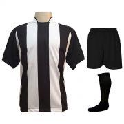 Uniforme Completo modelo Milan 18+2 (18 Camisas Preto/Branco + 18 Calções Madrid Preto + 18 Pares de Meiões Pretos + 2 Conjuntos de Goleiro) + Brindes