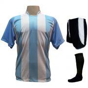 Fardamento Completo modelo Milan 18+2 (18 Camisas Celeste/Branco + 18 Calções Modelo Copa Preto/Branco + 18 Pares de Meiões Pretos + 2 Conjuntos de Goleiro) + Brindes