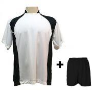 Uniforme Esportivo com 14 camisas modelo Suécia Branco/Preto + 14 calções modelo Madrid Preto + Brindes