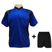 Uniforme Esportivo com 12 camisas modelo Roma Royal/Preto + 12 calções modelo Madrid Preto + Brindes