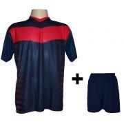 Uniforme Esportivo com 12 camisas modelo Dubai Marinho/Vermelho + 12 calções modelo Madrid + 1 Goleiro + Brindes