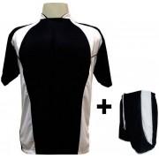 Uniforme Esportivo com 14 camisas modelo Suécia Preto/Branco + 14 calções modelo Copa + 1 Goleiro + Brindes
