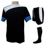 Uniforme Esportivo Completo modelo Sporting 14+1 (14 camisas Preto/Branco/Celeste + 14 calções modelo Copa Preto/Branco + 14 pares de meiões Pretos + 1 conjunto de goleiro) + Brindes