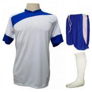 Uniforme Esportivo Completo modelo Sporting 14+1 (14 camisas Branco/Royal + 14 calções modelo Copa Royal/Branco + 14 pares de meiões Brancos + 1 conjunto de goleiro) + Brindes