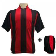 Uniforme Esportivo com 12 camisas modelo Milan Preto/Vermelho + 12 calções modelo Copa + 1 Goleiro + Brindes