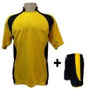Uniforme Esportivo com 14 camisas modelo Suécia Amarelo/Preto + 14 calções modelo Copa Preto/Amarelo + Brindes