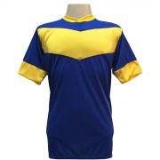 Jogo de Camisa com 18 unidades modelo Columbus Royal/Amarelo + 1 Goleiro + Brindes