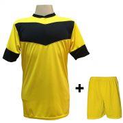 Uniforme Esportivo com 18 camisas modelo Columbus Amarelo/Preto + 18 calções modelo Madrid Amarelo + Brindes