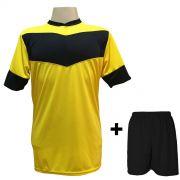 Uniforme Esportivo com 18 camisas modelo Columbus Amarelo/Preto + 18 calções modelo Madrid Preto + Brindes
