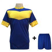 Uniforme Esportivo com 18 camisas modelo Columbus Royal/Amarelo + 18 calções modelo Madrid Royal + Brindes